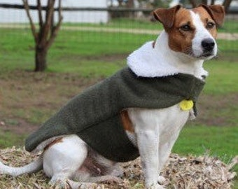 Small Dog Wool Army Blanket Sherpa Lined Jacket, Dog Jacket, Dog Coat, Dog Jackets