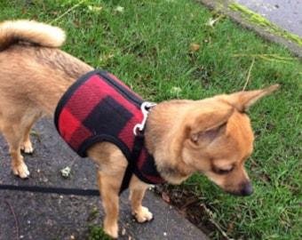 Lumberjack Small Dog Harness Made in USA, dog harness, dog harnesses, buffalo plaid, fleece, pet clothing