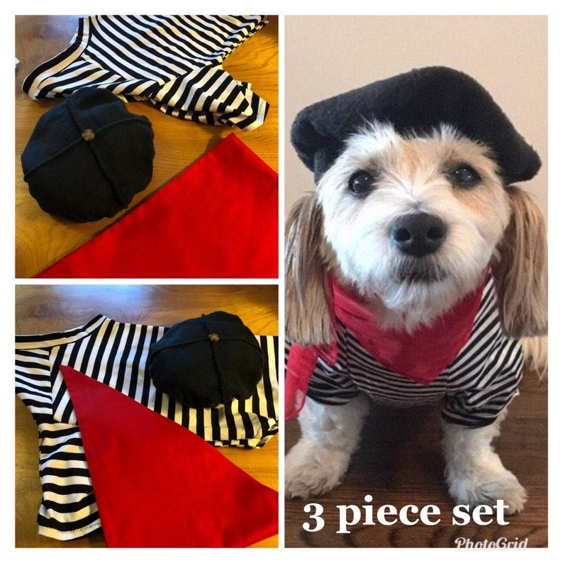 692b78ed66dc0 3 Piece Set Dog Beret Halloween frenchie set striped Tee and