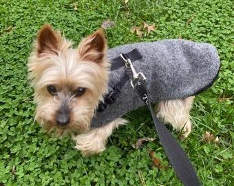 Washable Cozy Sherpa lined Grey Wool Sweater Coat, dog Jacket, Dog Coat, Dog Jackets, pet clothing