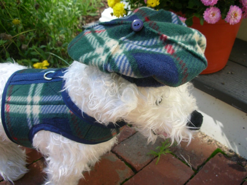 3f7b74cb52d5d British Plaid Dog Beret Hats for dogs Dog Hat