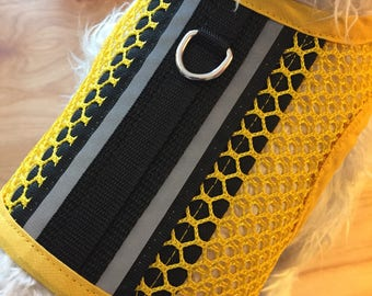 Reflective tape, Breathable Mesh Small Dog Harness Made in USA