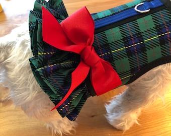 Bright Tartan plaid Small Dog Ruffle Harness Made in USA, dog harness, dog harnesses