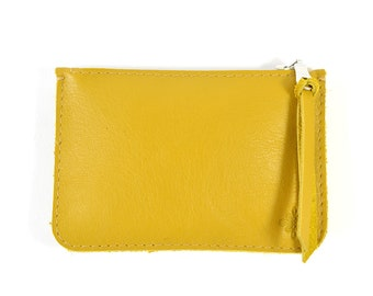 Mustard Yellow Leather Zip Pouch Purse Wallet Handmade