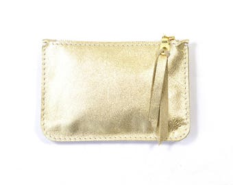 Metallic Gold Leather Zip Pouch Purse Wallet Handmade
