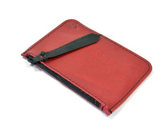 Cherry Red Leather Zip Pouch Purse Wallet Handmade