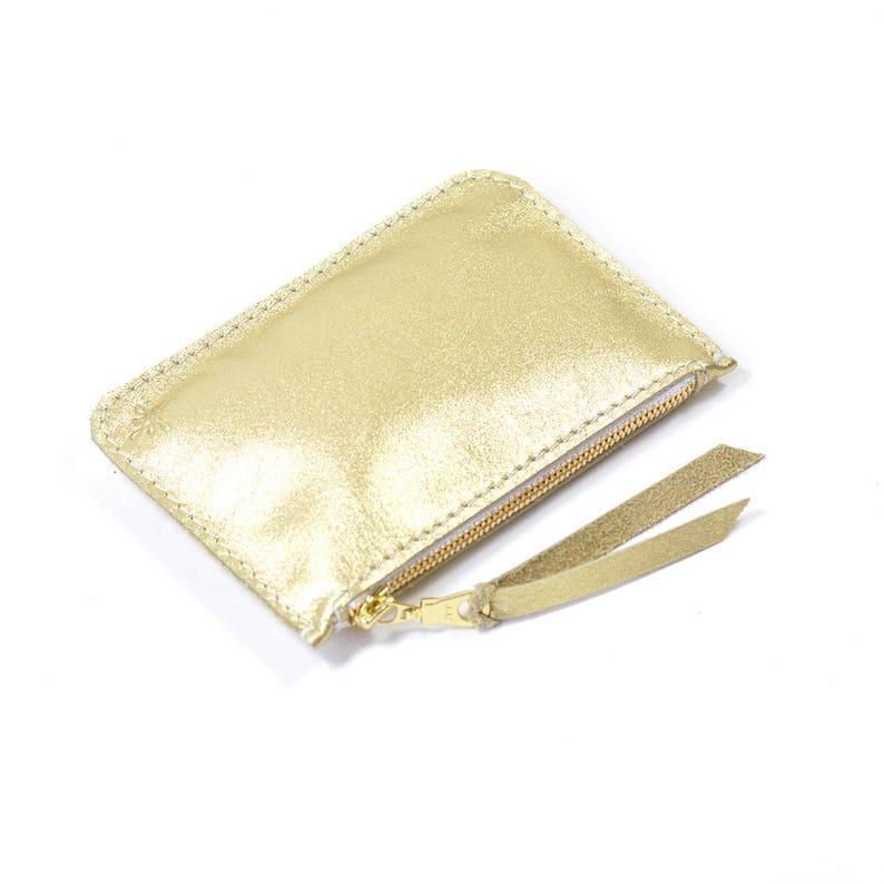 Metallic Gold Leather Zip Pouch Purse Wallet Handmade