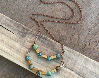 turquoise necklace / turquoise jewelry / brass necklace / TURQUOISE & TUBES NECKLACE