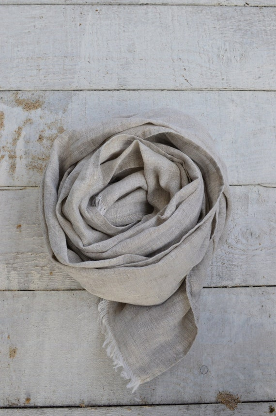 Pure linen scarf natural linen color scarf women men spring summer eco friendly
