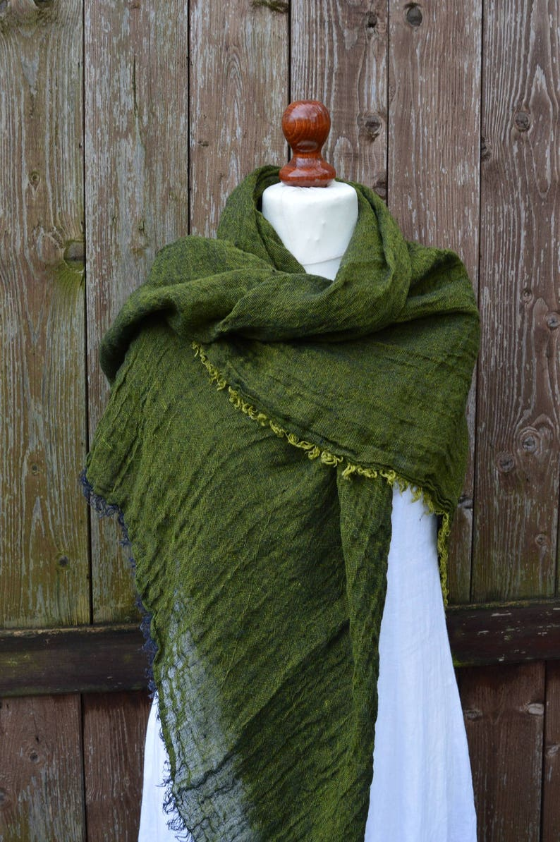 171e64ae6 Winter linen shawl wrap scarf green color | Etsy