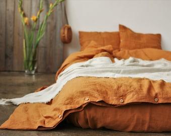 Linen bedding set. Linen duvet cover terracotta color. King, Queen linen bedding. Custom linen bedding.