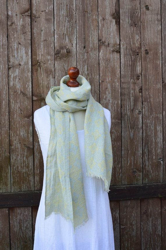 Linen scarf, yellow scarf, women scarf, summer scarf, natural scarf, women linen scarf, flax linen, handmade scarf, scarf with fringe