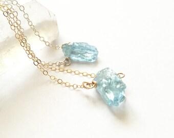 Raw Aquamarine Pendant - Raw Gemstone Necklace - March Birthstone - Gemstones - Raw Crystal Necklace - Minimal - Simple Crystal - Aquamarine