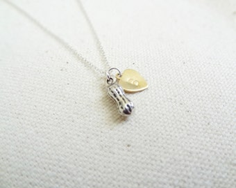 Little peanut personalized sterling silver necklace - gift for her -  simple jewelry - mixed metals - baby gift - new mother