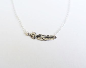 Sideways Feather Necklace - Sterling Silver Feather - Minimal Jewelry - Layering Jewelry - Feathers - Nature Jewelry - Boho Necklace