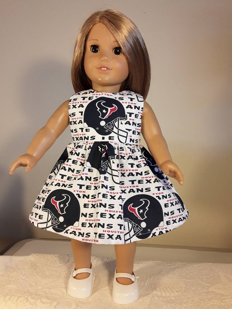 18 inch Doll Clothes Handmade Houston Texans Football Print Dress fits American Girl Doll Clothes Handmade