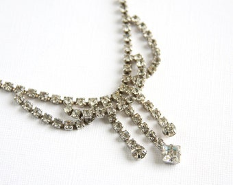 Vintage Rhinestone Necklace Clear Glass Silver Tone Metal 16 Inch Adjustable Single Strand Curves Drops Wedding Bridal Prom Formal Dress