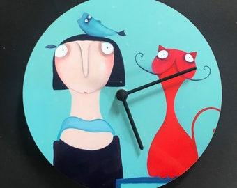 "Kitchen clock wall clock ""Mechthild with her cat"" clock 21 cm + ""2nd CHOICE! Lacaluna cat clock art painting"