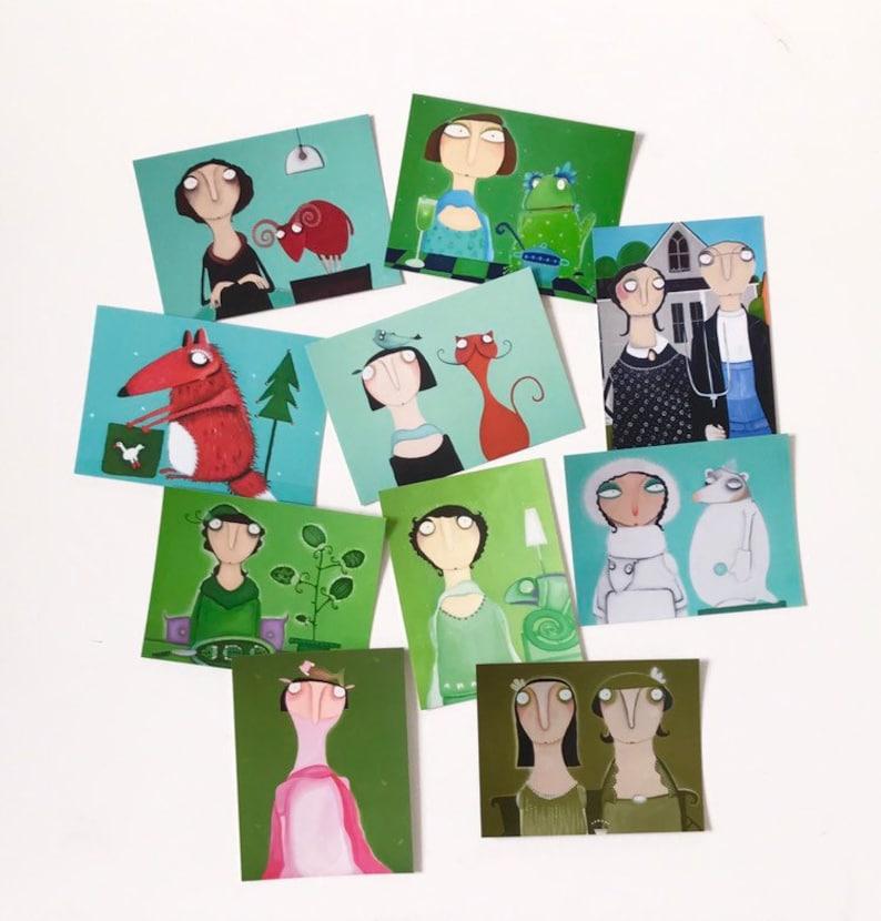 Art postcards in the green set. 10 postcards. image 0