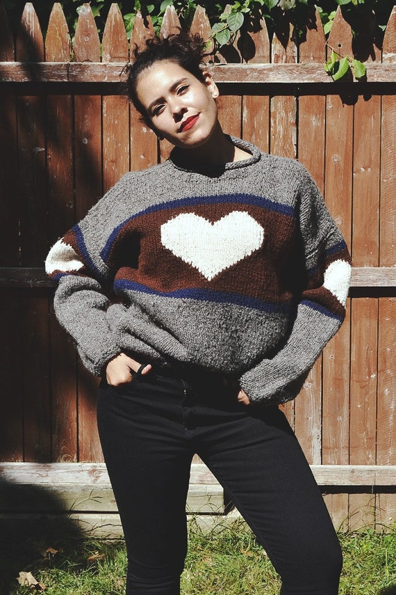 Vintage I Got Heart Wool Pullover Sweater // M