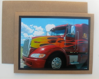 Big Rigs & Blue Skies Photo Greeting Card Original Photography Flaming Red Peterbilt Big Rig Father's Day Card