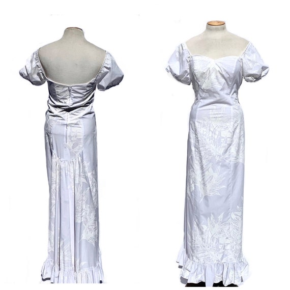 White Maxi Dress Vintage Mamo Howell Hawaiian Dress Boho Wedding Off Shoulder Maxi Prom Quinceanera Country Western M L