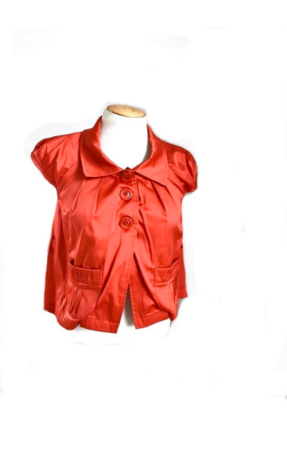 Red Satin Cap Sleeve Pleated Button Down Smock Wit