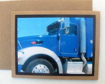 SOLD Big Rigs & Blue Skies Photo Greeting Blue Peterbilt Truck Original Photography Boy's Room Father's Day Card