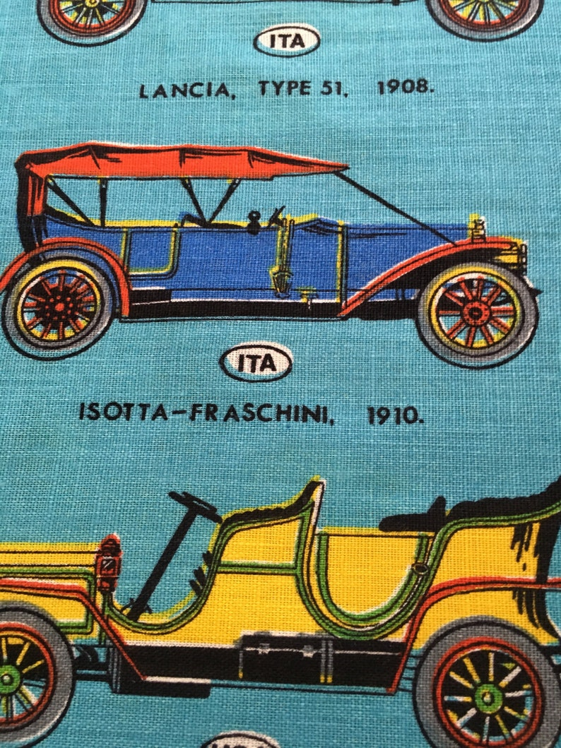 Sold LAMONT IRISH LINEN Tea Towel Veteran Cars