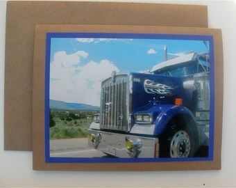 Big Rigs & Blue Skies Photo Greeting Card Purple Kenworth Big Rig Flame Original Photograpy Father's Day Card