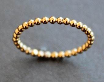 Yellow Gold Vermeil 1.9mm Beaded Dot Bubble Ring (Various Sizes) - READY TO SHIP