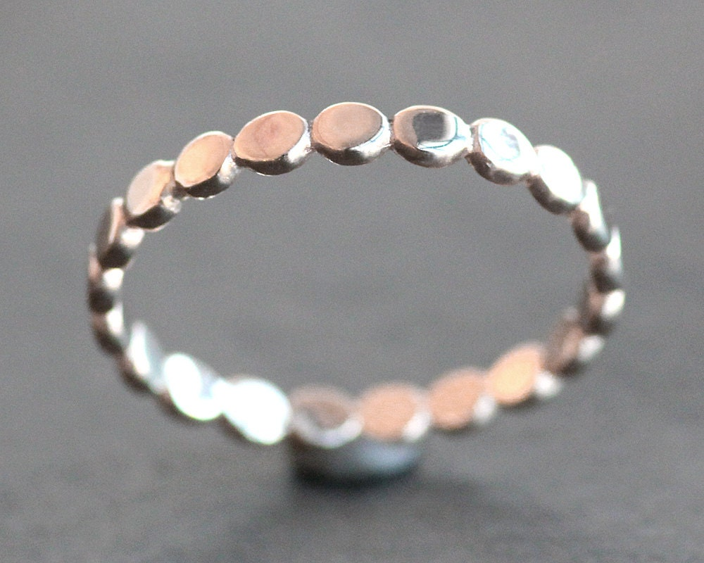 Solid 10K ROSE Gold Pebble Ring 2.5mm Wide Wedding Ring