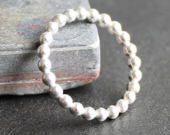 Sterling Silver Beaded Bubble Ring - 2.3mm Dots