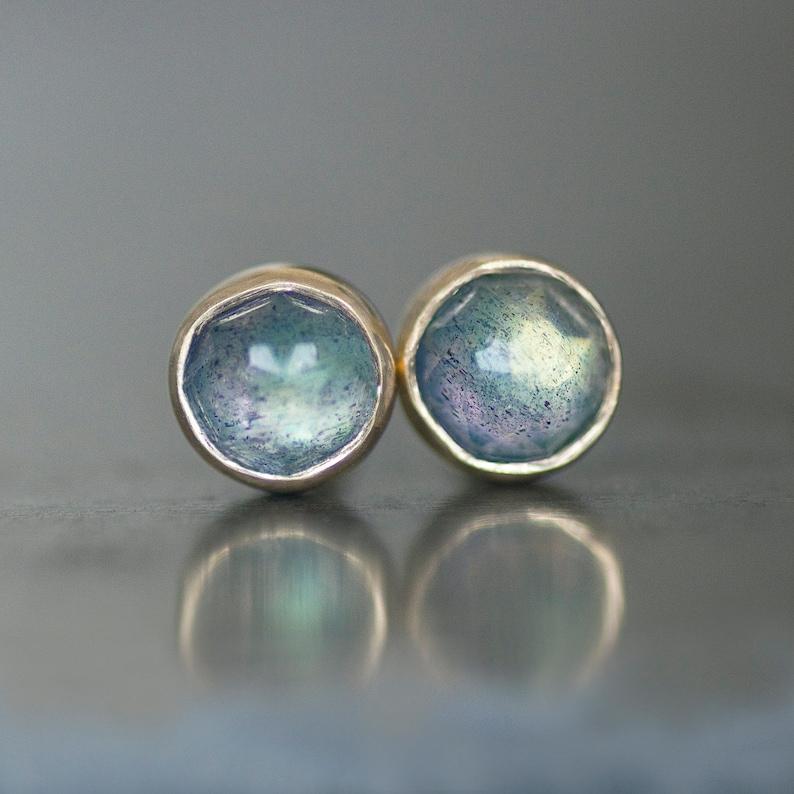 Original Labradorite Silver Stud Earings For Women Daily Wear With Bezel Setting