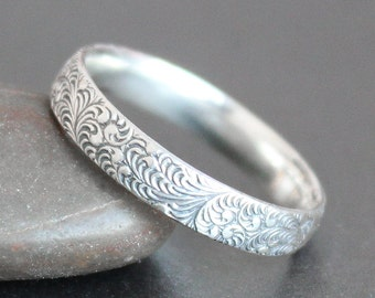 Feather Pattern Ring in Sterling Silver - Alternative Wedding Band - Made to Order - Art Deco - Art Nouveau