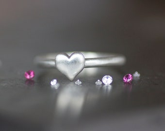 SALE - Heart Ring - Sterling Silver 2mm Band with 6mm Silver Heart - Friendship / Bridesmaid Gift