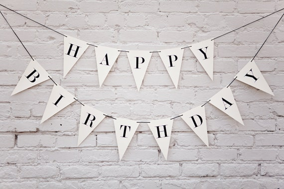 happy birthday banner triangle etsy
