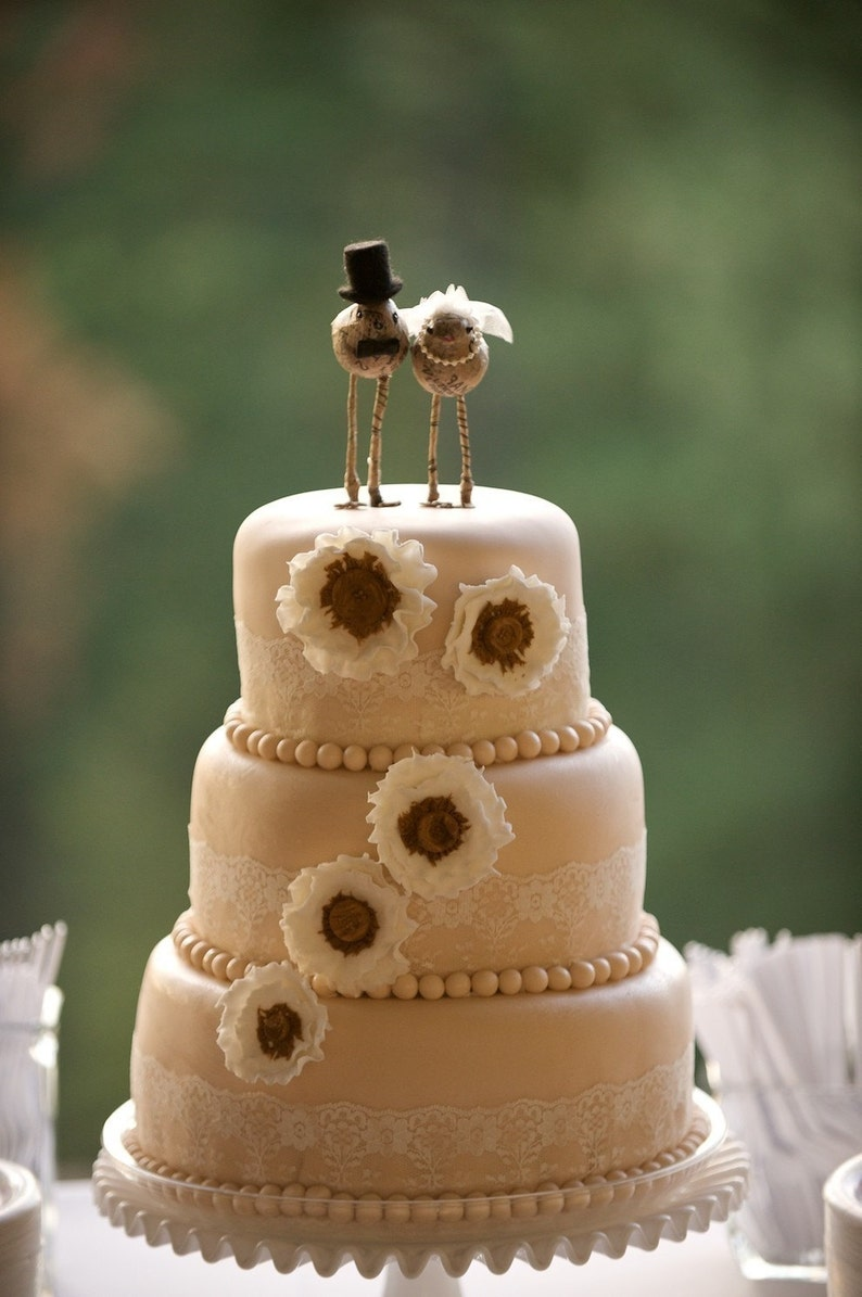 Love Bird 'Bride and Groom' Cake Toppers image 0