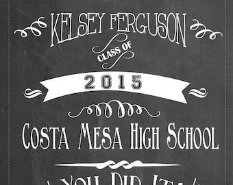 high school graduation chalkboard sign printable graduation etsy