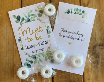 Mint to be Eucalyptus Wedding favor packets, Bridal shower favor, with or without mints  (set of 15), MT10002 envelope