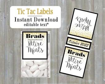 Retire mint Tic tac labels, Retirment, do it yourself Instant download -you edit - you print, digital Pdf file) DIY # TIC78992 Faux Gold