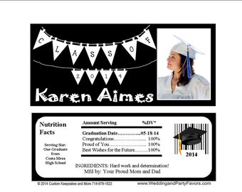 Graduation Candy Bar Wrapper Many Colors - Personalized (set of 15)