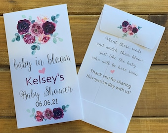 Baby in bloom seed packet favors, purple with eucalyptus flowers for baby girl shower favor, with or without seeds (set of 15)  sp20023