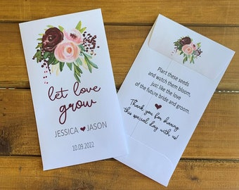 Wedding Let love grow seed pink and maroon flowers packet favors, Bridal shower favor, with or without seeds (set of 15), sp20102