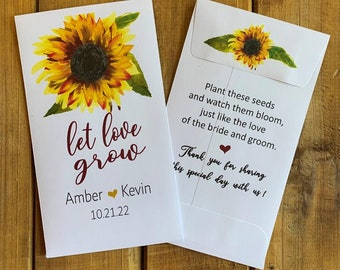 let love grow Sunflower wedding wildflower seed packet favor, Bridal shower favor, with or without seeds (set of 15), sp20100