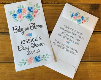 Baby in bloom seed packet favors, pink and blue flowers for baby shower favor, with or without seeds (set of 15)  sp20014