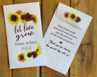 Red Sunflower Wedding Let love grow wildflower seed packet favor, Bridal shower favor, with or without seeds (set of 15), sp20099