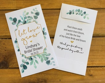 Bridal Shower Eucalyptus Let love grow wedding seed packet favors, Wedding favor, with or without seeds (set of 15), sp20081