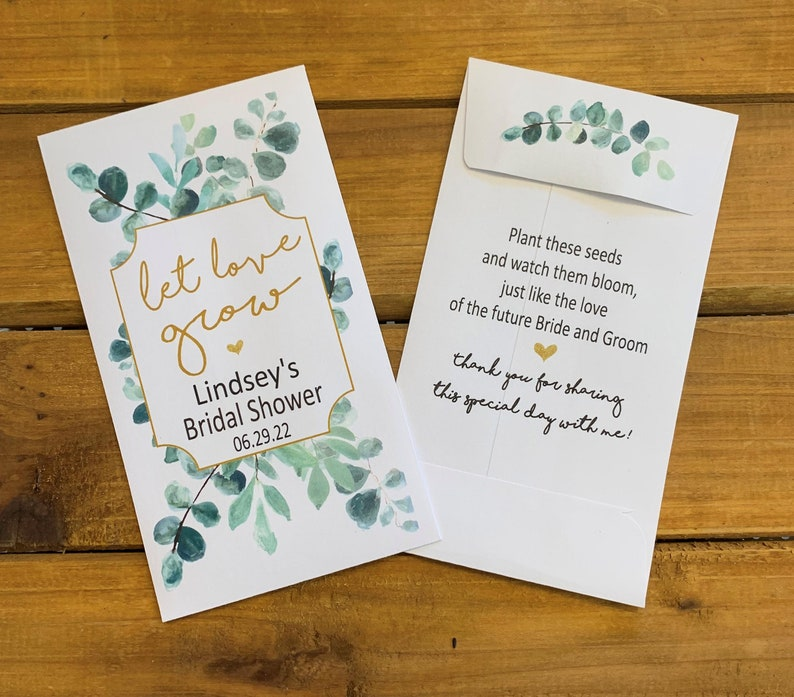 Bridal Shower Eucalyptus Let love grow wedding seed packet image 0