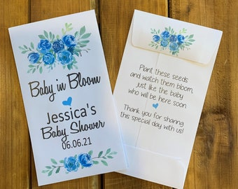 Baby in bloom seed packet favors, blue flowers for baby boy shower favor, with or without seeds (set of 15)  sp20017